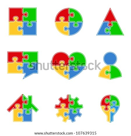 Abstract puzzle objects, vector eps10 illustration - stock vector