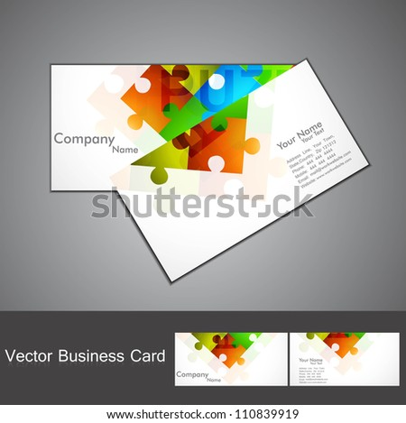 abstract puzzle Set of business card colorful Vector - stock vector