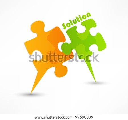 abstract puzzle shape colorful vector design. The solution concept - stock vector