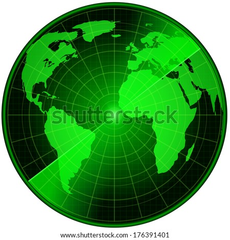 Abstract radar with earth map, vector illustration - stock vector
