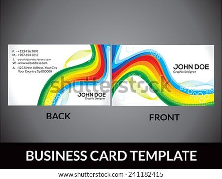 abstract rainbow business card template vector illustration - stock vector