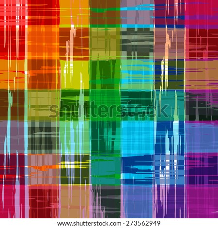 Abstract rainbow color paint grunge plaid art pattern background - stock vector