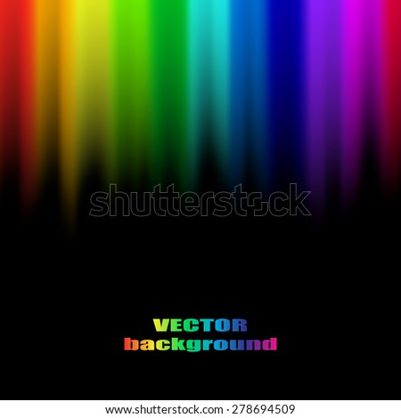 Abstract rainbow colours on a black background - stock vector