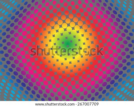 Abstract rainbow fisheye background with squares