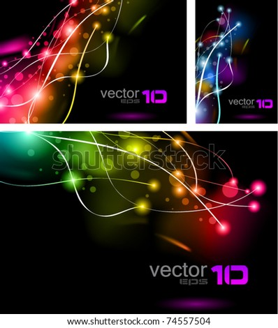 Abstract Rainbow Lights Business Cards Set - stock vector