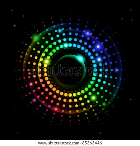 Abstract Rainbow Ray #2 of lights explosion on black background - stock vector