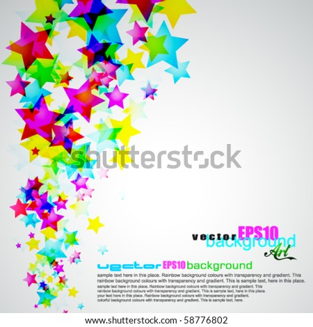 Abstract Rainbow Stars Flyer with delicate Gradient Background - stock vector