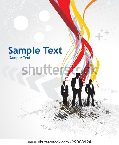 Abstract rainbow wave line background with standing businessman . Vector illustration.