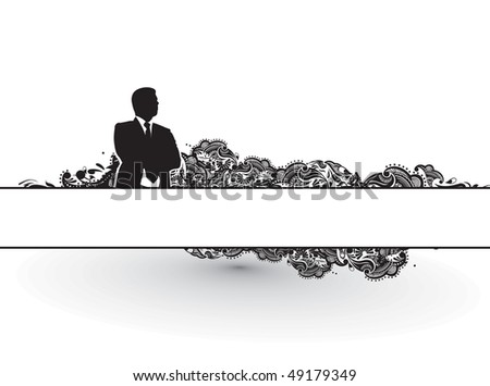 Abstract rainbow wave line background with standing success businessman silhouette. Vector illustration. - stock vector