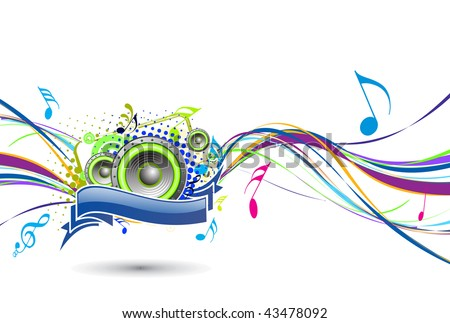 abstract rainbow wave line with music note background, vector illustration