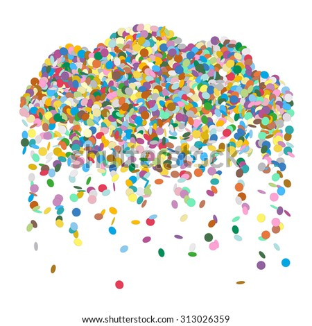 Abstract Raining Confetti Cloud - Colourful Vector Illustration with Coloured Falling Paper Snippets - Particle Design