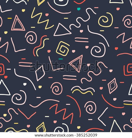 Abstract random colorful geometric figures pattern. Vector illustration