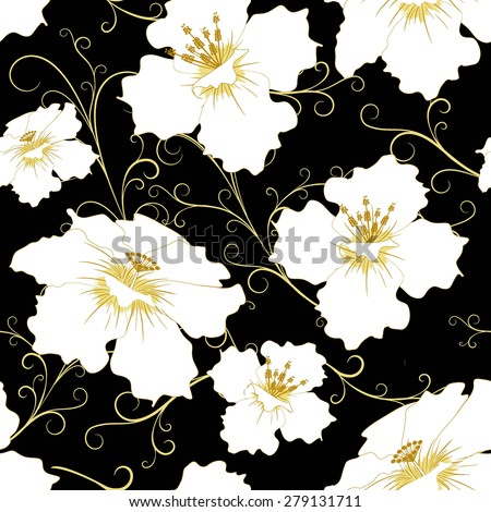 abstract random  floral pattern in vintage style  on black  background, seamless, vector illustration - stock vector