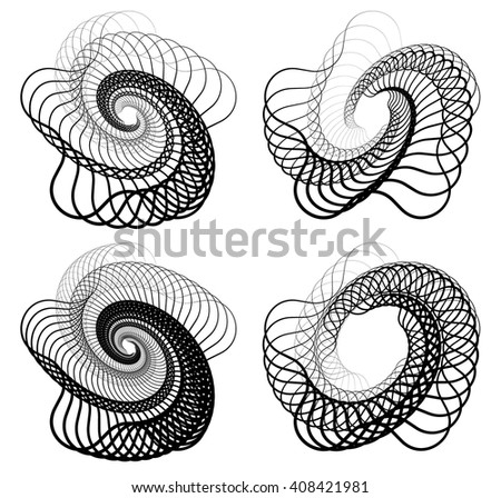 Abstract random squiggly, spirally lines. Swirling, rotating lines artistic graphic - stock vector