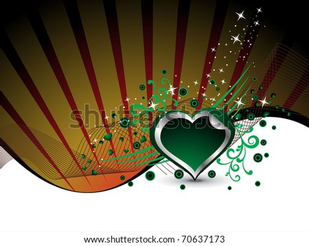 abstract rays, and twinkle star background with decorated green heart