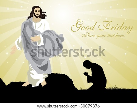abstract rays, shiny star background with jesus, people praying - stock vector