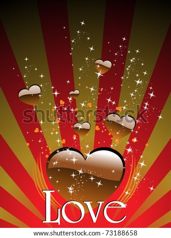 abstract rays, twinkle star background with romantic chocolate heart - stock vector