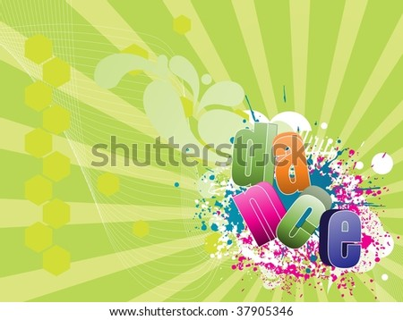 abstract rays, wave background with colorful grunge, dance - stock vector