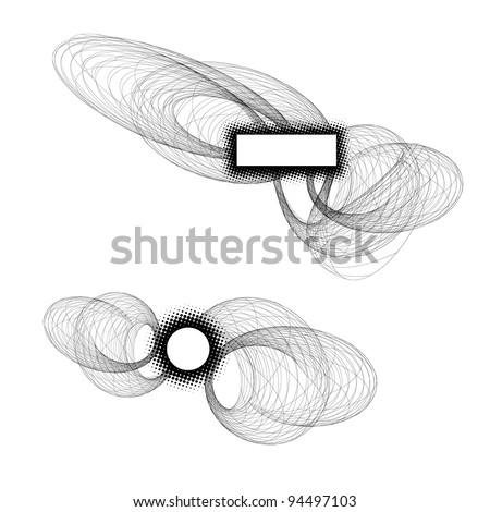 Abstract raytracing spirals with frames. Good for some space-time or technology high end concept - stock vector