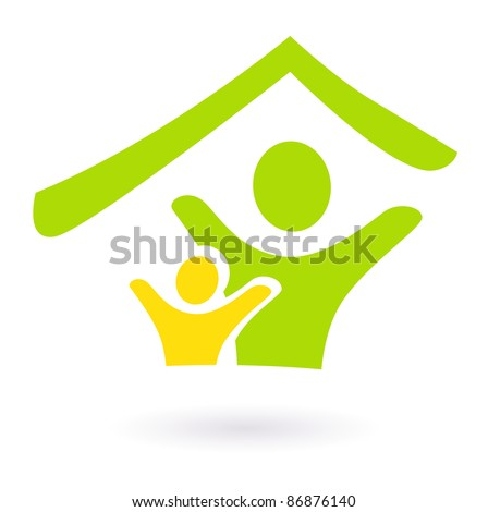 Abstract real estate, family or charity icon isolated on white - stock vector