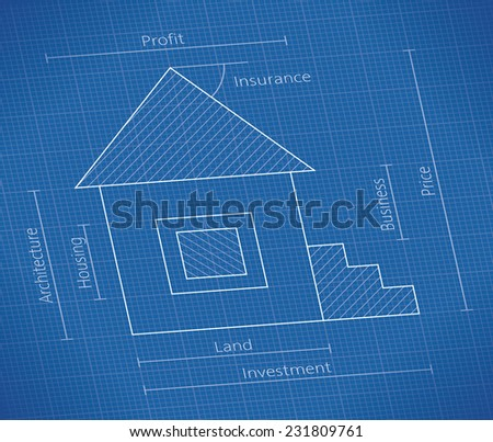 Abstract real property blueprint house schematic stock vector abstract real property blueprint with house schematic and investment price land business malvernweather Image collections