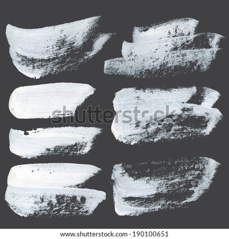 Abstract realistic strokes drawn thick white paint on black paper - stock vector
