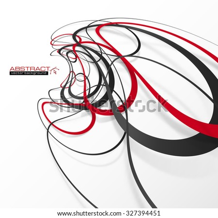Abstract red and black lines with shadows, vector background - stock vector