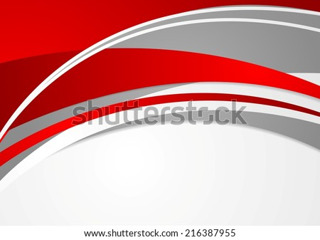 Abstract red and grey wavy background. Vector design - stock vector