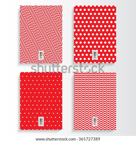 Abstract red and white flyer or book cover design set with different geometric pattern background and your text Eps 10 stock vector illustration  - stock vector