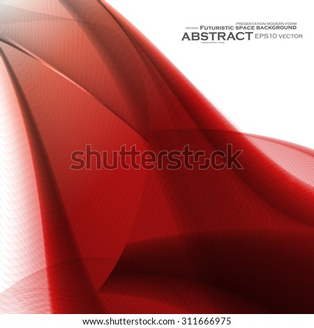 Abstract red background, futuristic wavy vector illustration eps10 - stock vector