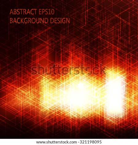 Abstract red background. Hexagonal pattern structure. Vector image. Mesh used. - stock vector