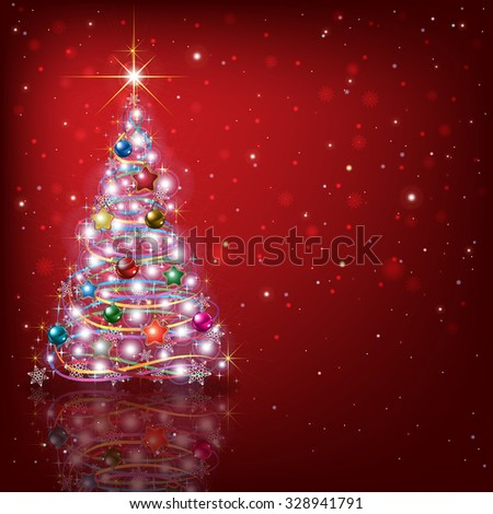 Abstract red background with Christmas tree and decorations - stock vector