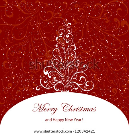 Abstract red background with decorative Christmas tree, illustration. - stock vector