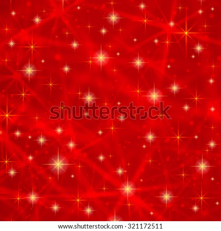 Abstract red background with sparkling twinkling stars. Cosmic shiny galaxy (atmosphere). Holiday blank backdrop texture for Christmas (Xmas), Happy New Year with glow milky way elements (fantasy sky) - stock vector
