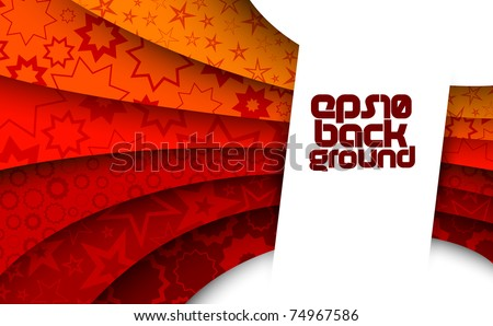 abstract red background with stars - stock vector