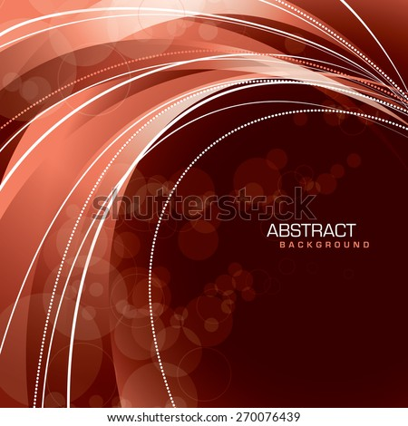 Abstract red background with wavy lines. - stock vector