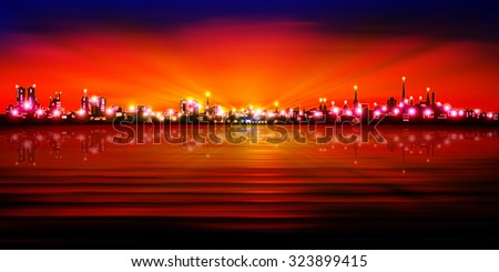 abstract red blue sunset background with silhouette of Tallinn vector illustration - stock vector