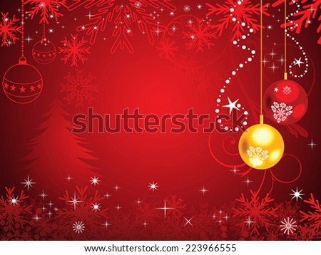 abstract red christmas background with shiny christmas balls vector illustration - stock vector