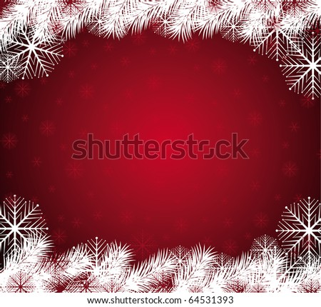 Abstract red christmas background with snowflakes. Vector