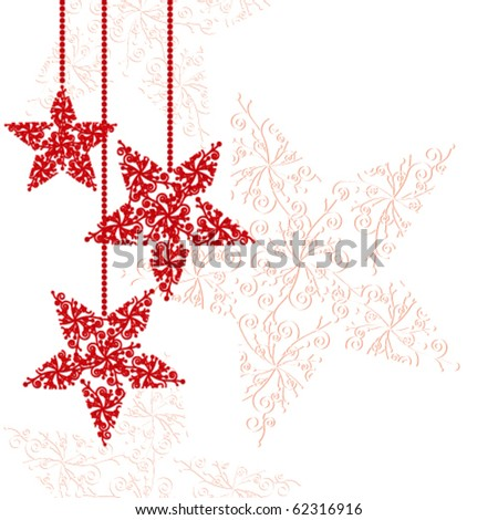 Abstract red christmas star background - stock vector