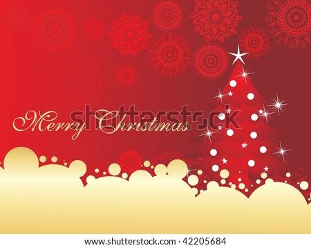 abstract red creative artwork background with shiny xmas tree