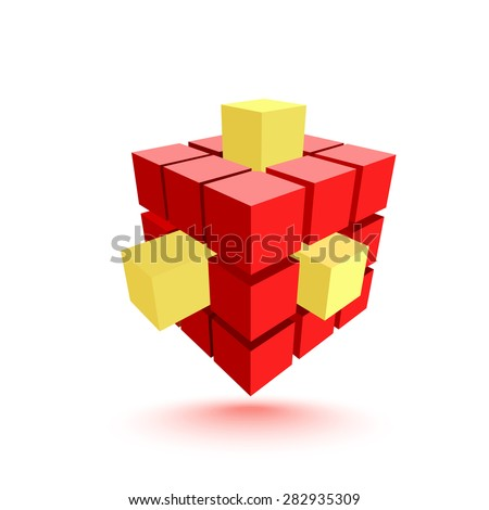 Abstract red cube with yellow elements. Business concept. Vector illustration - stock vector