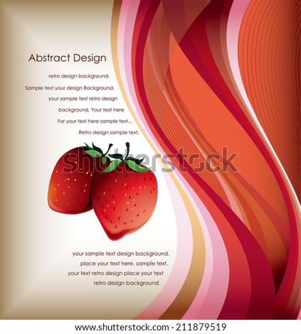 Abstract Red Curve Background and Strawberry - stock vector