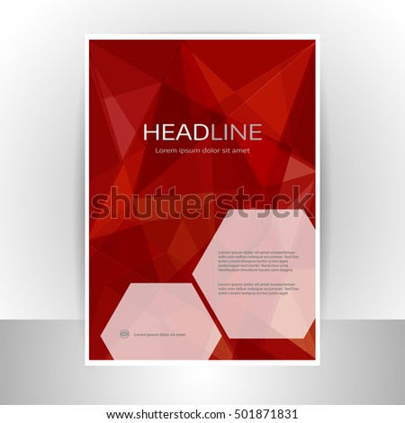 Abstract Red Geometric Flyer Template Stock Vector