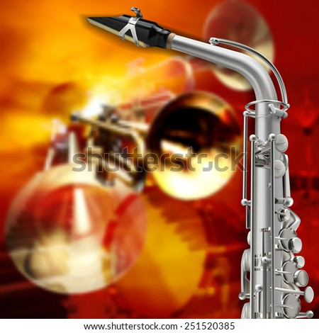 abstract red grunge background with saxophone and musical instruments - stock vector