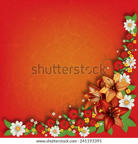 abstract red grunge floral background with spring flowers - stock vector