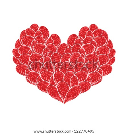 Abstract red heart - stock vector