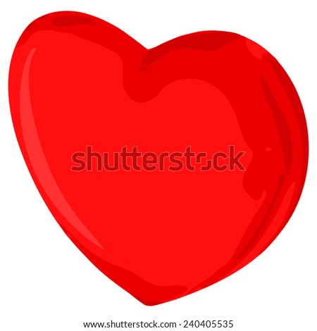 Abstract red heart on the white background - stock vector
