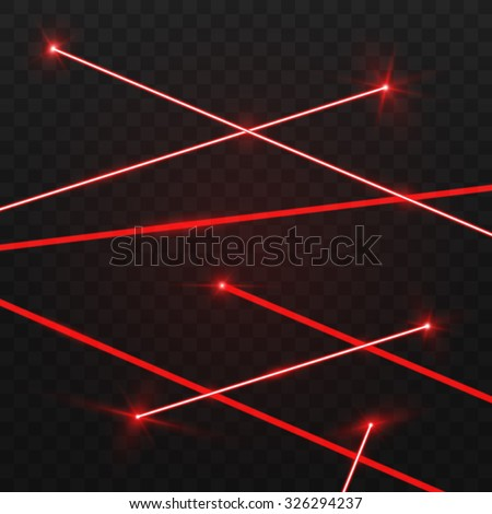 abstract red laser beams isolated on stock vector