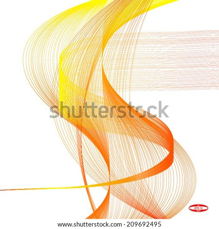 abstract red line orange wave yellow band on white background vector - stock vector